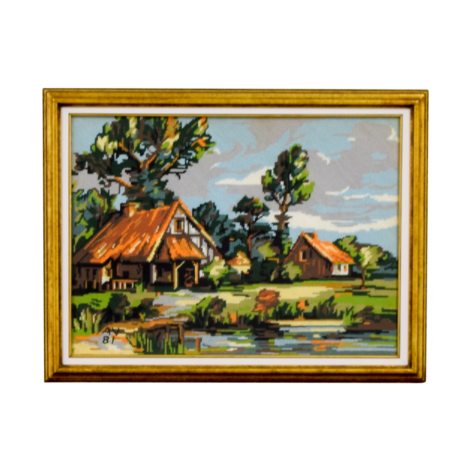 Framed Scenic Cottage Lake Needlepoint Decor