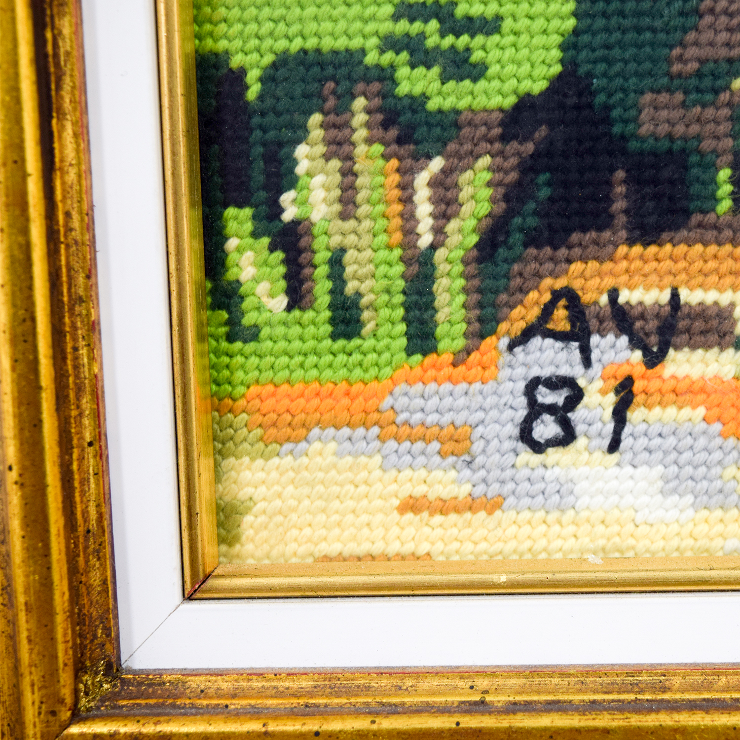 Framed Scenic Cottage Lake Needlepoint sale