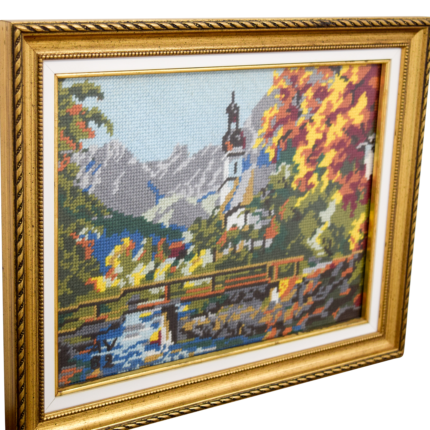 Framed Switzerland Church Bridge Needlepoint on sale
