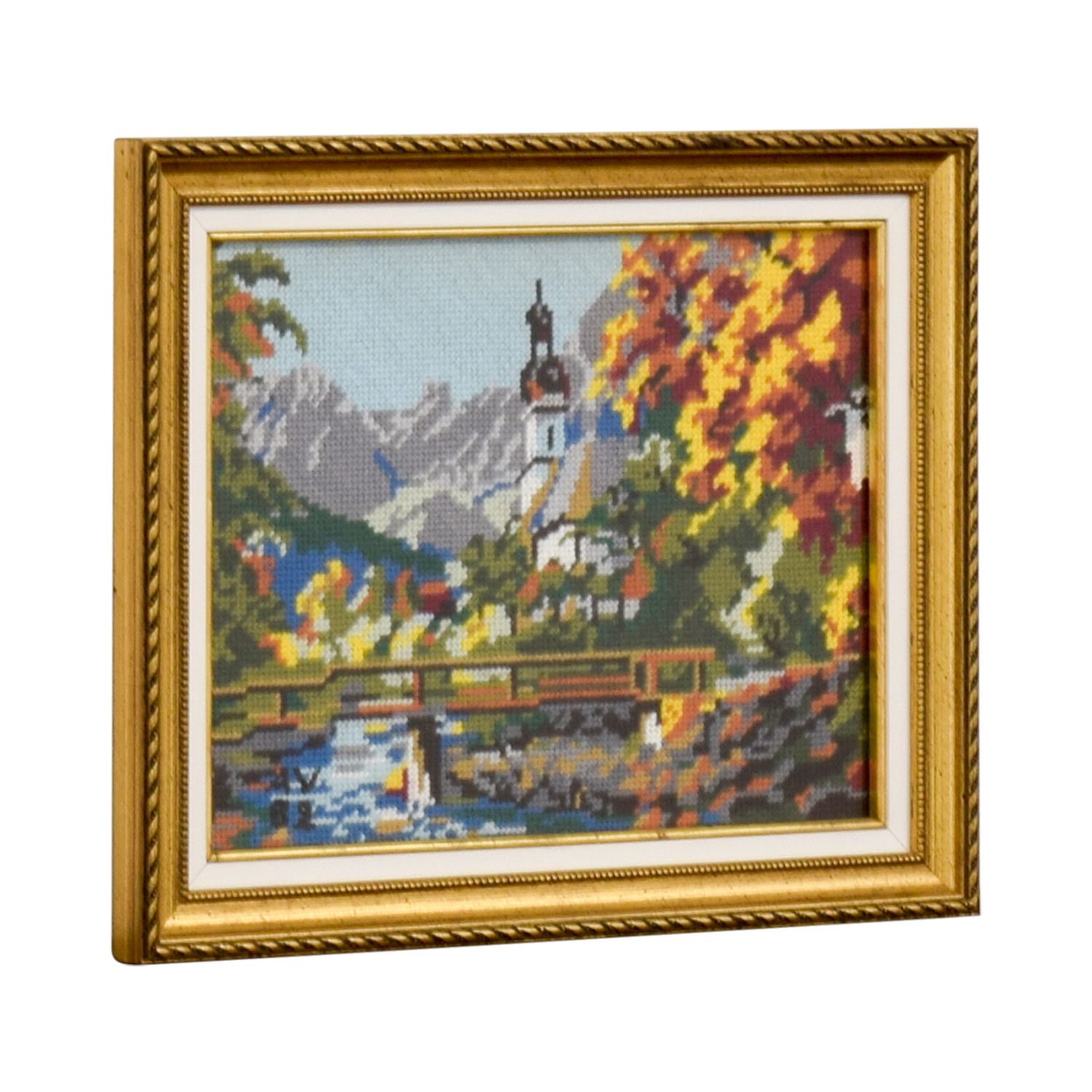 Framed Switzerland Church Bridge Needlepoint coupon