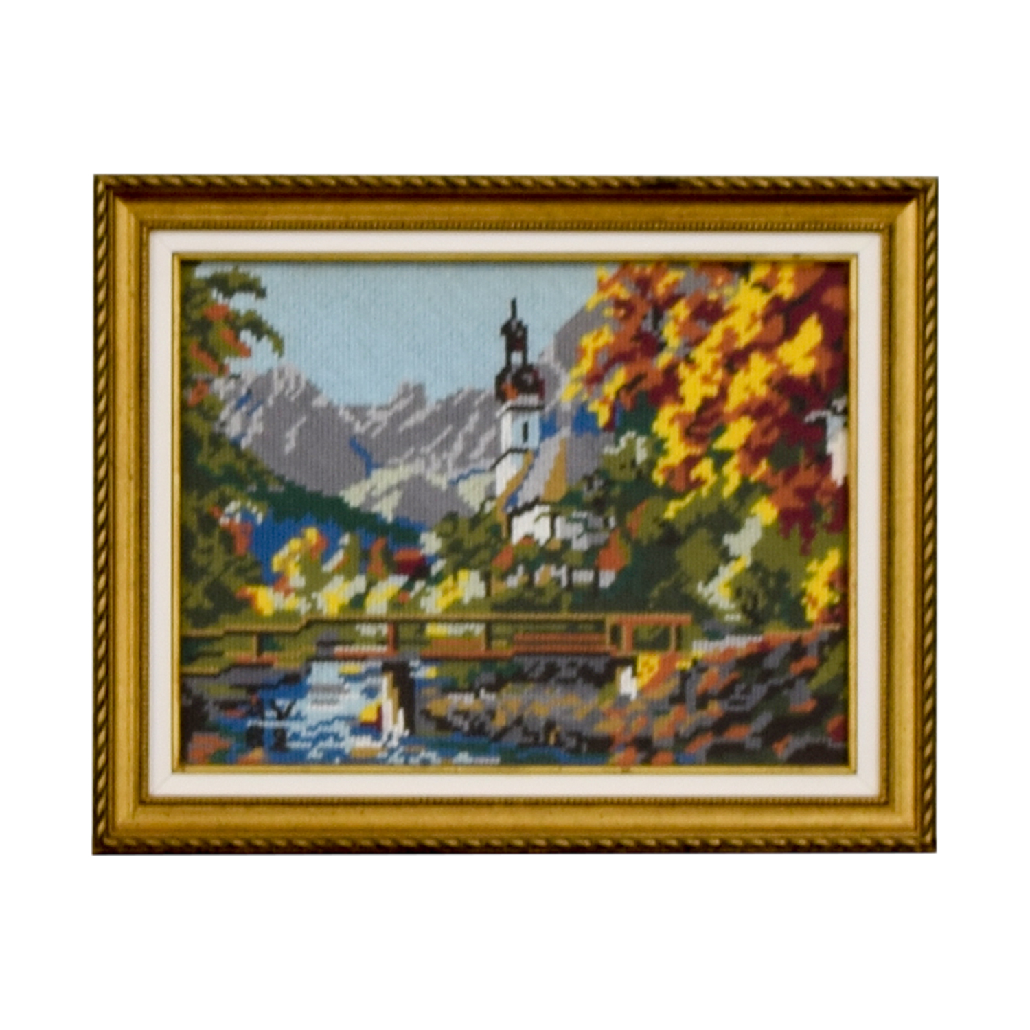 Framed Switzerland Church Bridge Needlepoint nyc