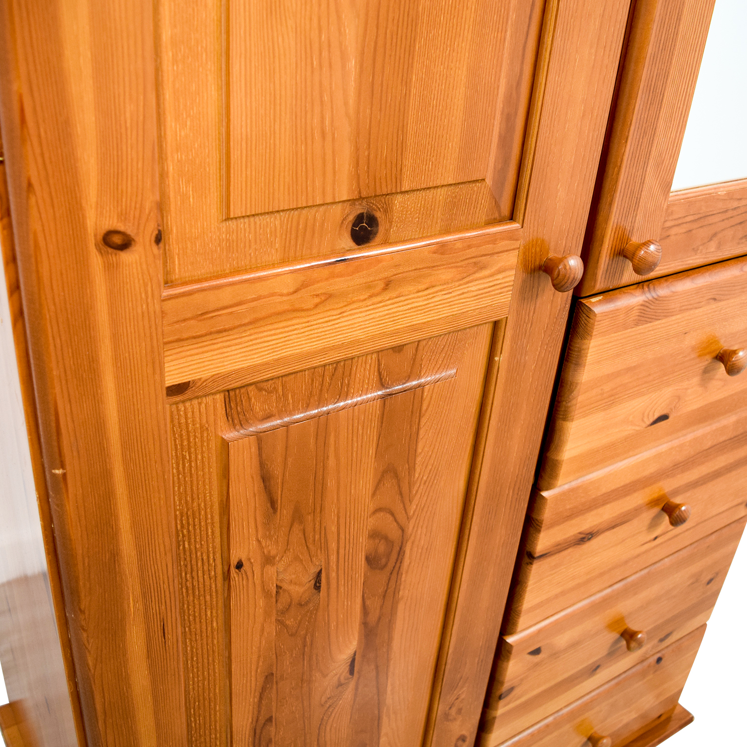 Wood Armoire with Rack Drawers and Shelves used