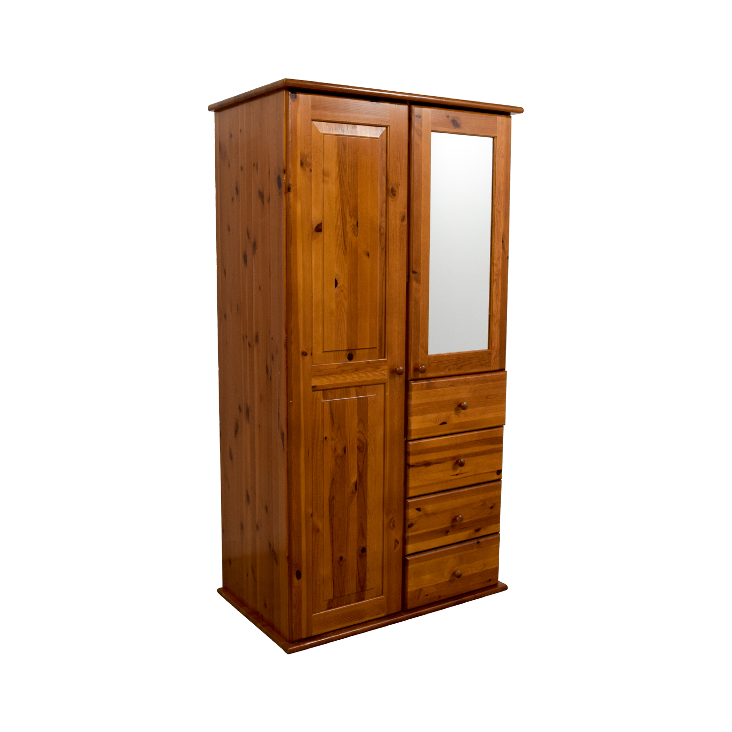 Wood Armoire with Rack Drawers and Shelves for sale
