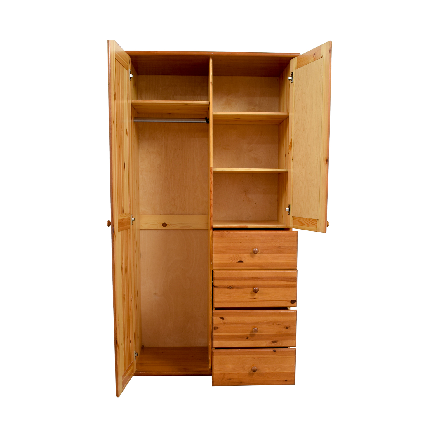 Wood Armoire with Rack Drawers and Shelves / Wardrobes & Armoires