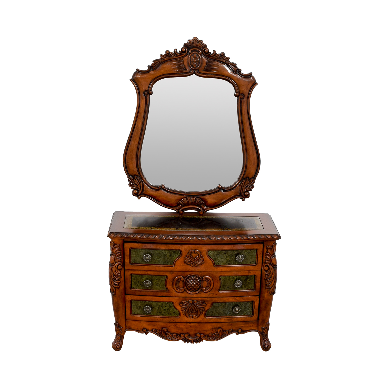 Wood Carved Three-Drawer Dresser with Mirror