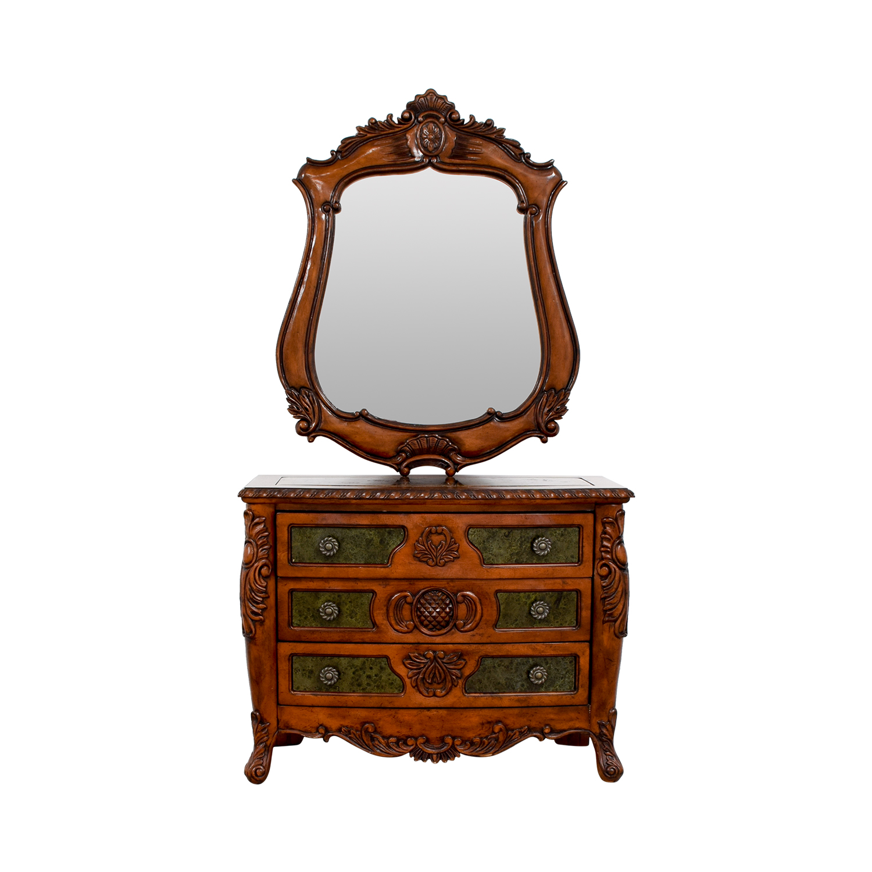 Wood Carved Three-Drawer Dresser with Mirror / Storage