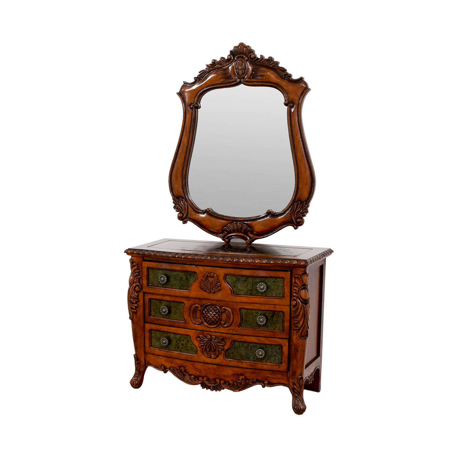 Wood Carved Three-Drawer Dresser with Mirror second hand