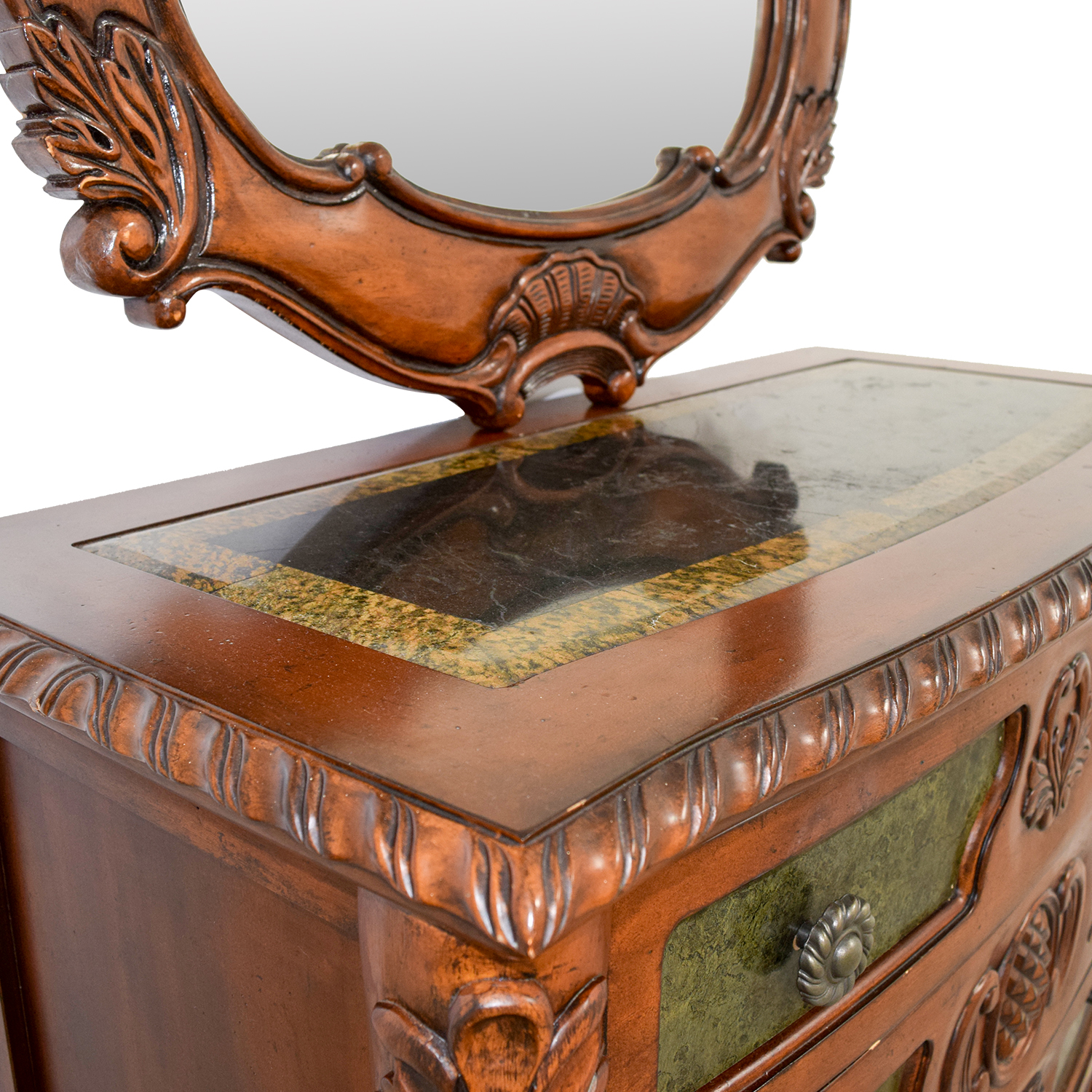 Wood Carved Three-Drawer Dresser with Mirror on sale