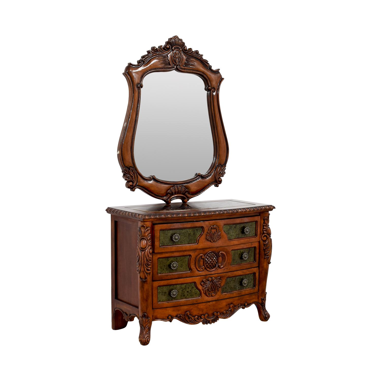 shop Wood Carved Three-Drawer Dresser with Mirror Storage