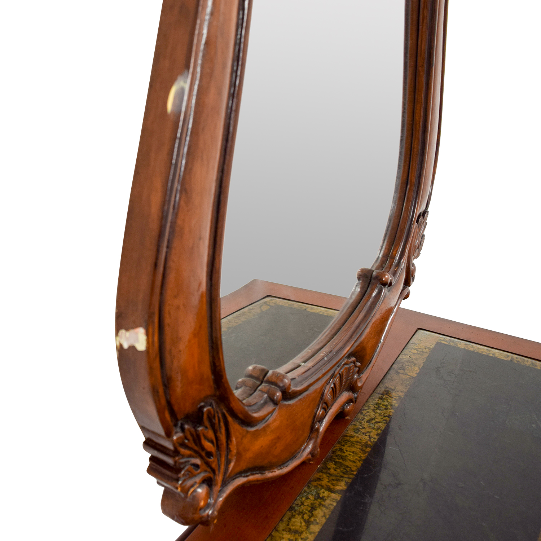 Wood Carved Three-Drawer Dresser with Mirror Storage