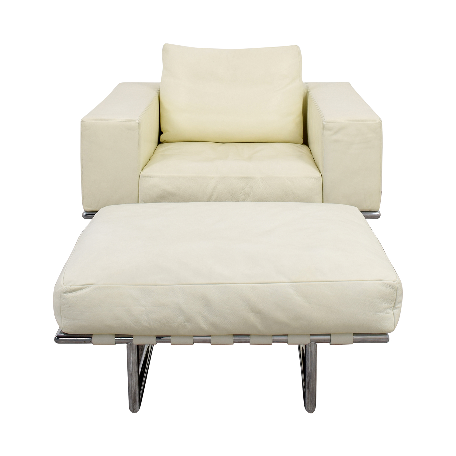Moura Starr Italian White Leather Chair with Ottoman Moura Starr