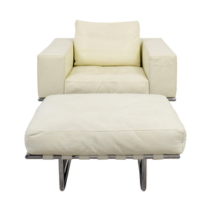 shop Moura Starr Italian White Leather Chair with Ottoman Moura Starr