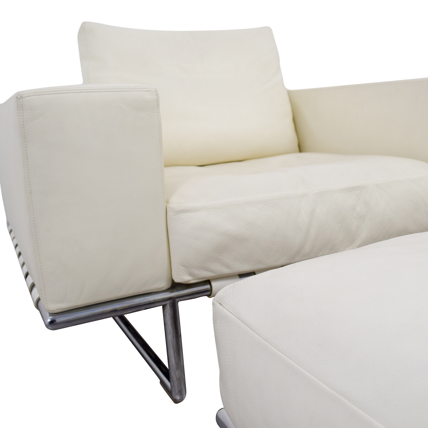 Moura Starr Moura Starr Italian White Leather Chair with Ottoman
