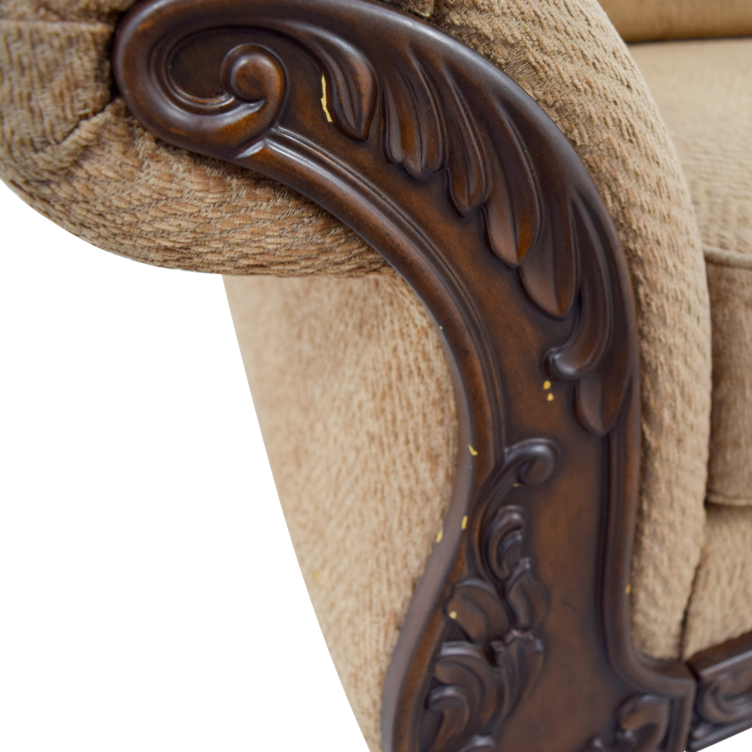 Havertys Gold Carved Wood Couch / Sofas