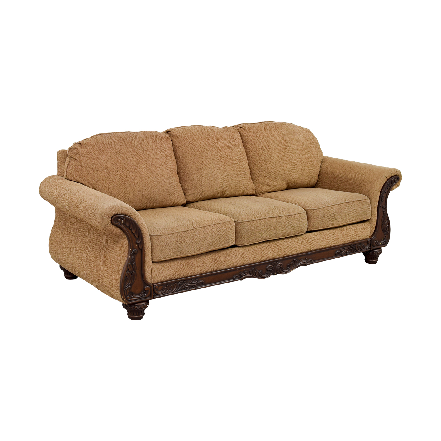 shop Havertys Gold Carved Wood Couch Havertys Sofas
