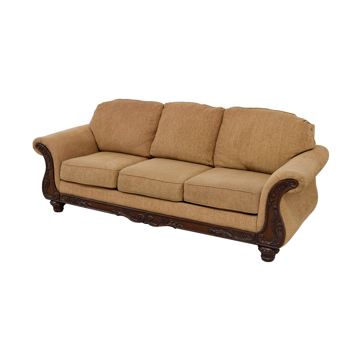 Havertys Gold Carved Wood Couch Havertys