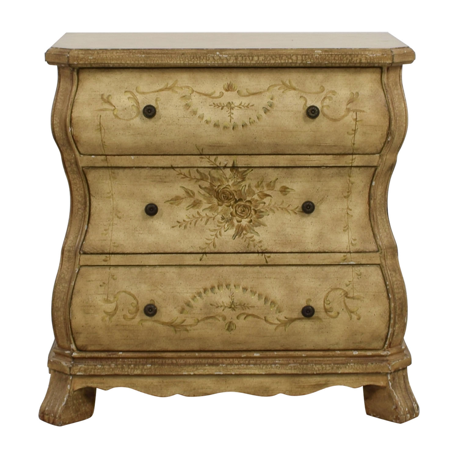 shop Beige Three-Drawer Chest with Floral Print Storage