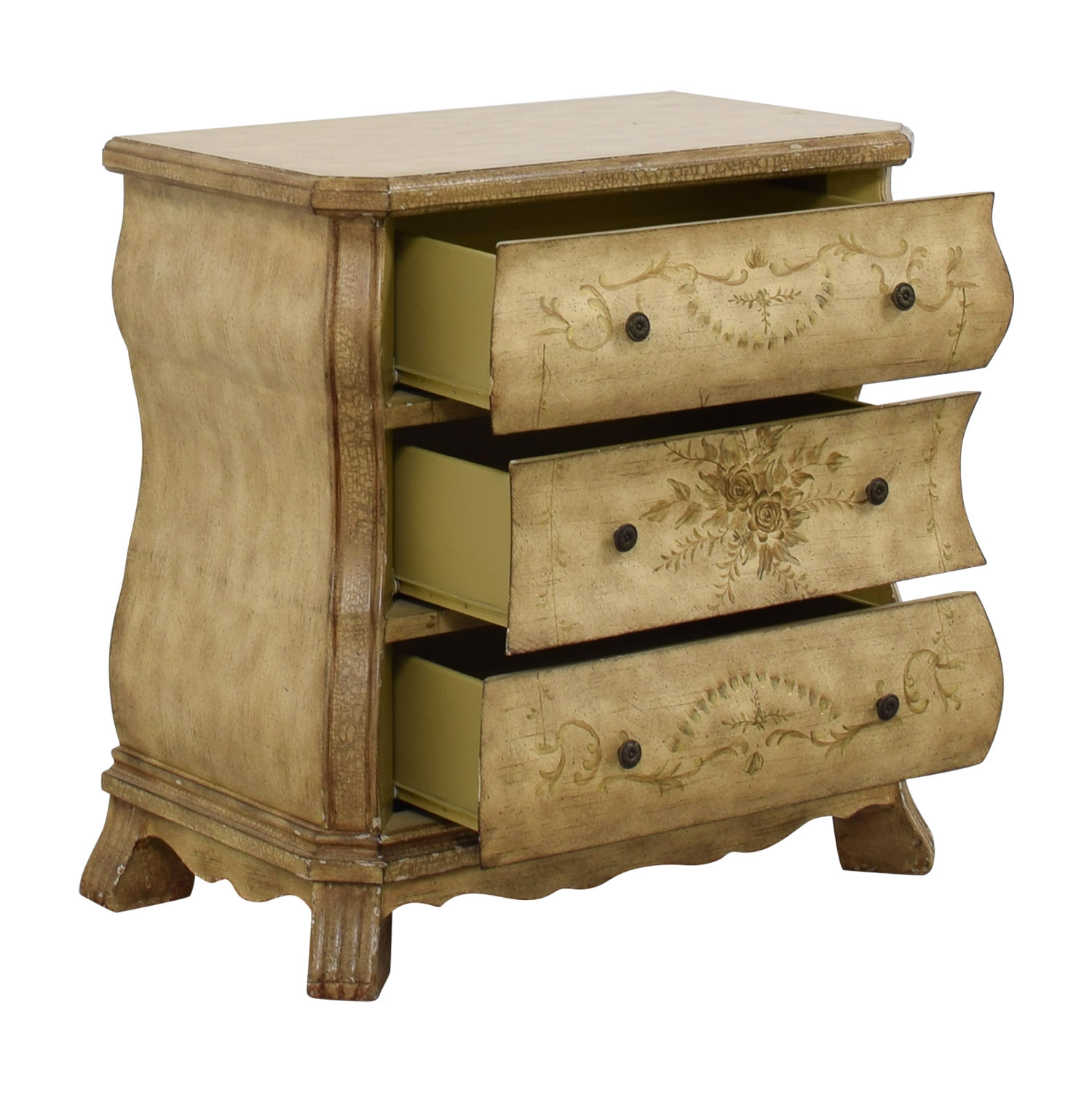 Beige Three-Drawer Chest with Floral Print Light Beige