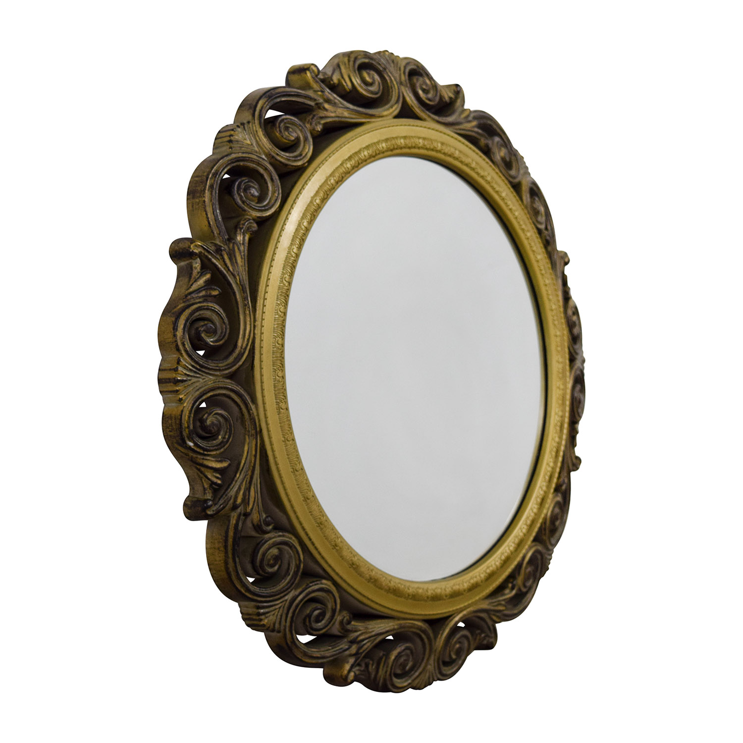 Gilded Round Wall Decor : Off gold scrolled frame round wall mirror decor