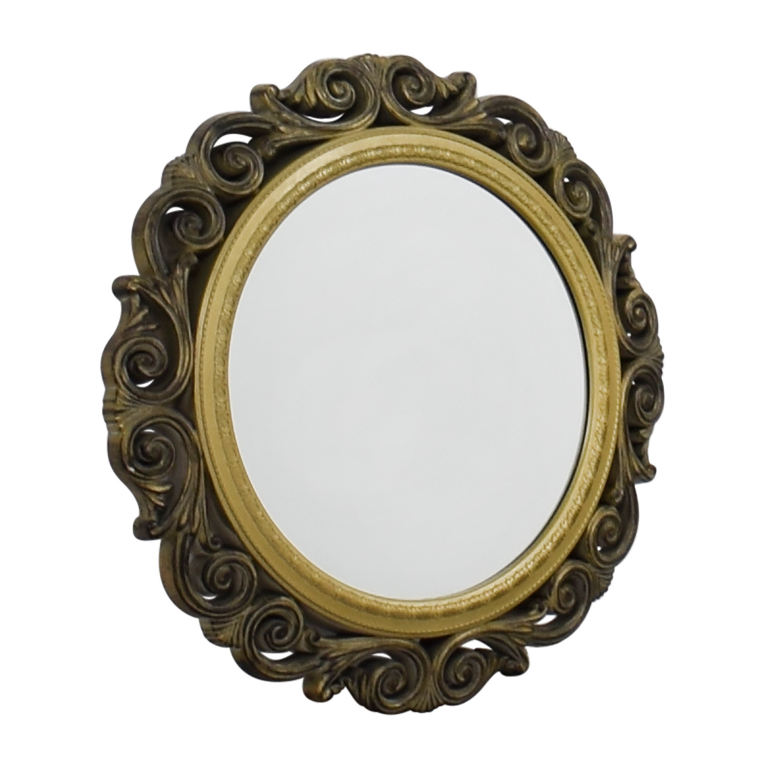buy Gold Scrolled Frame Round Wall Mirror online