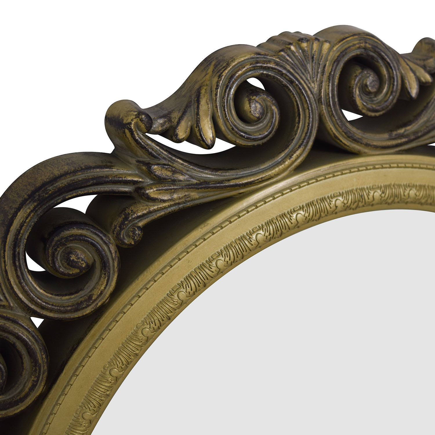 Gold Scrolled Frame Round Wall Mirror for sale