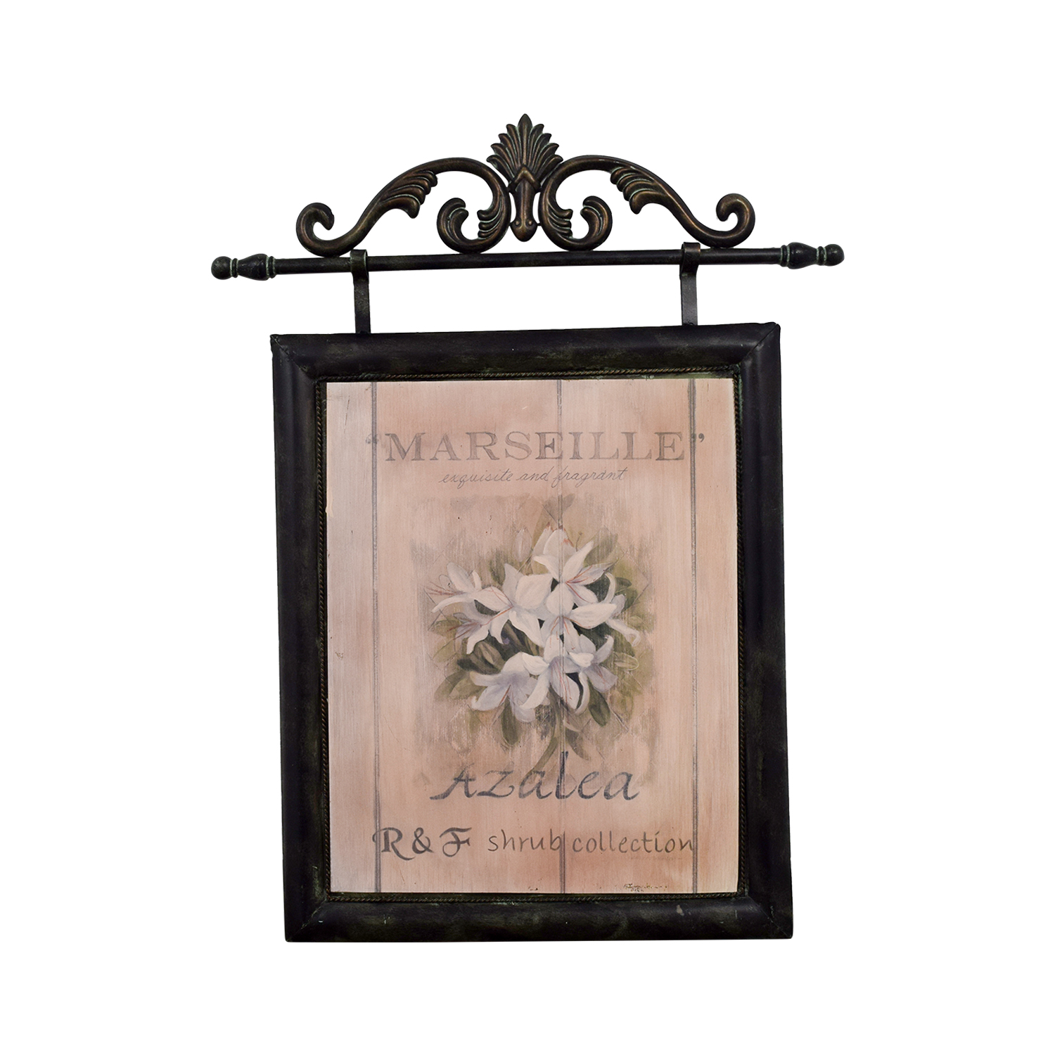 Fortunoff Fortunoff Marseille French Azelea Picture with Metal Frame Beige / Black