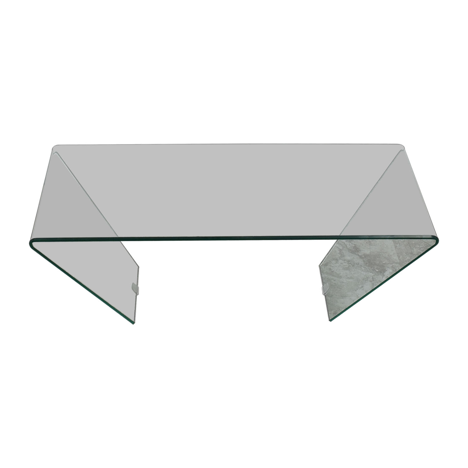 J M Furniture Bent Clear Glass Coffee Table