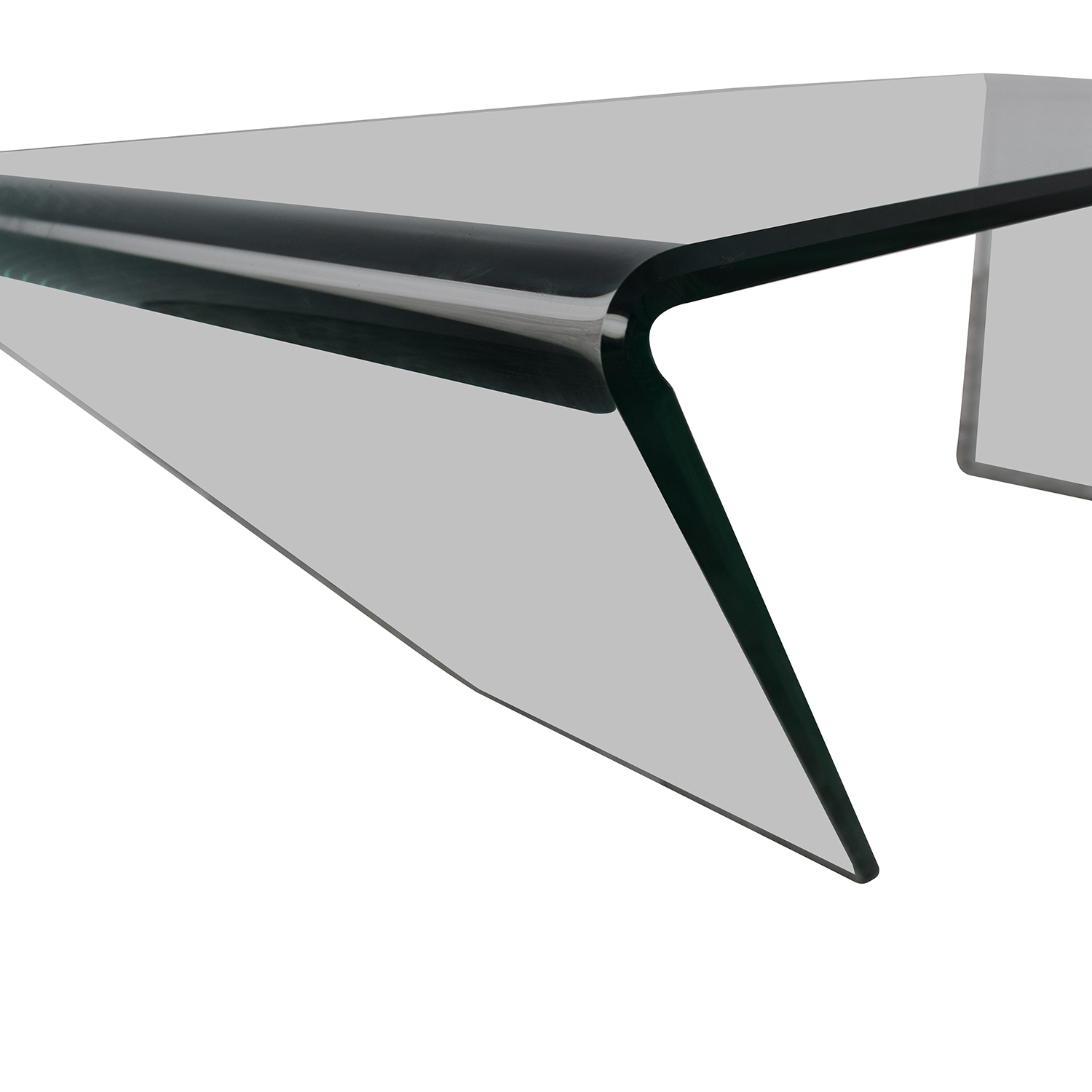 J & M Furniture Bent Clear Glass Coffee Table sale