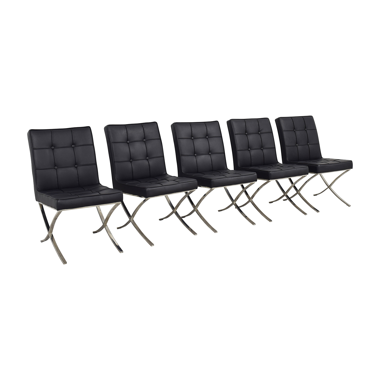 West Elm West Elm Black Tufted Leather Chairs second hand