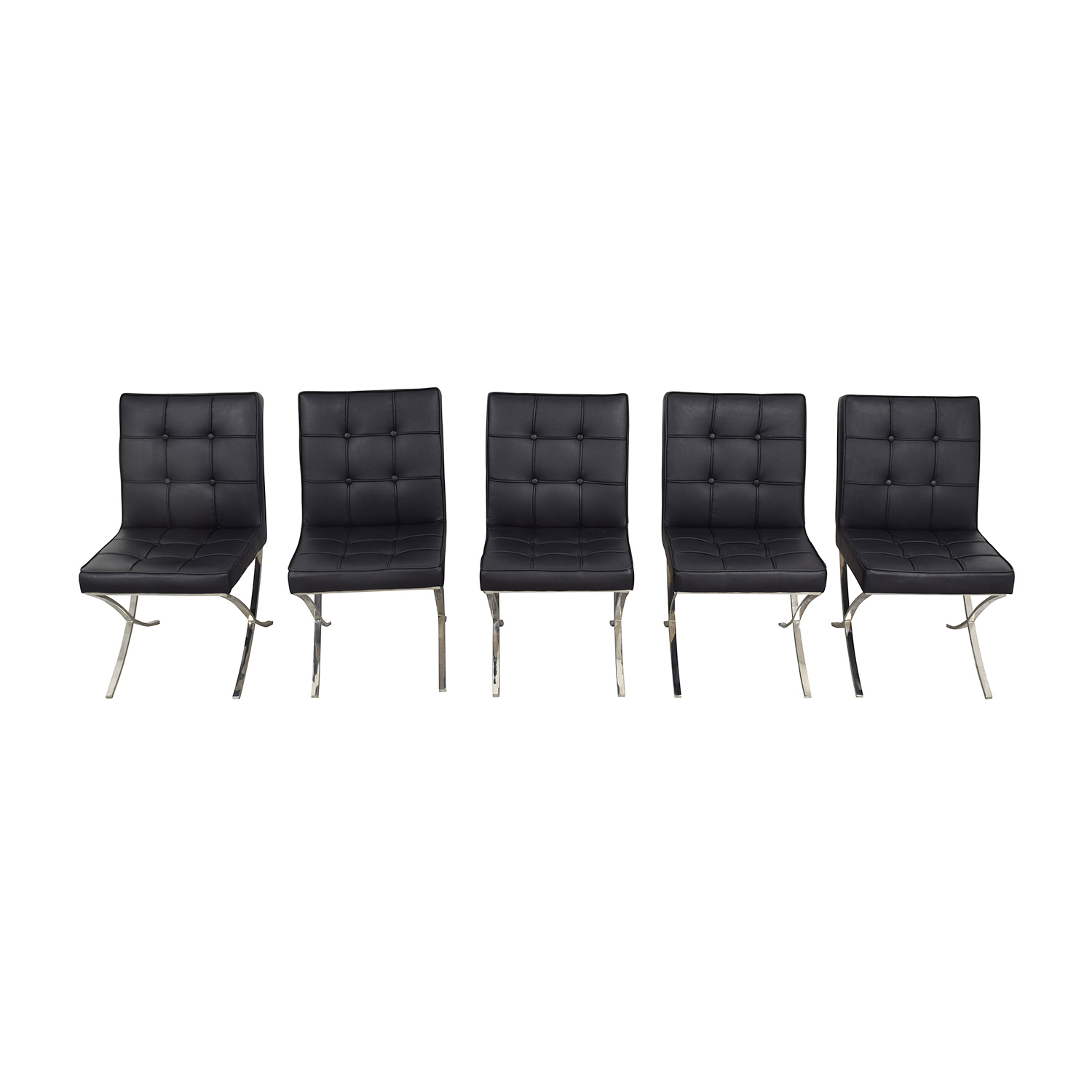 West Elm Black Tufted Leather Chairs sale
