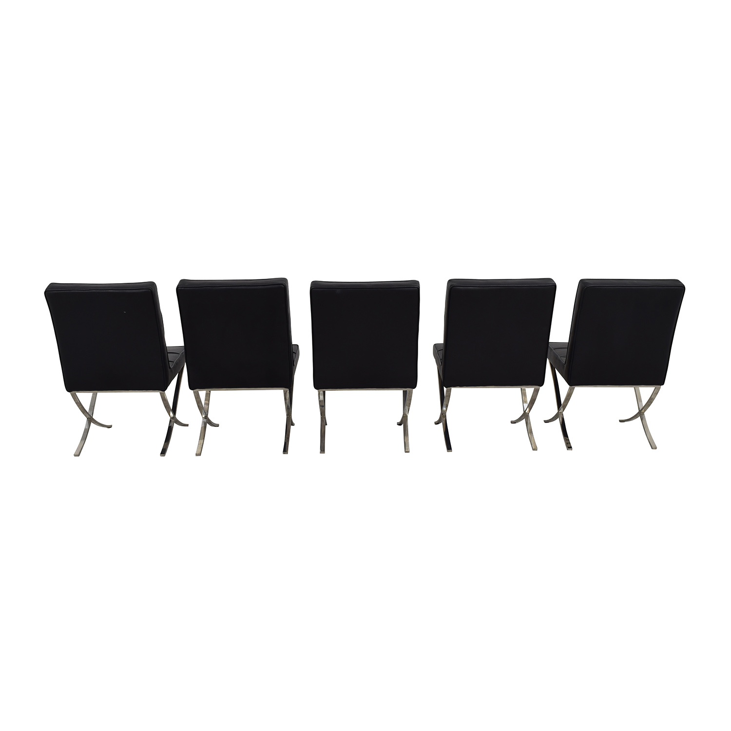 buy West Elm Black Tufted Leather Chairs West Elm