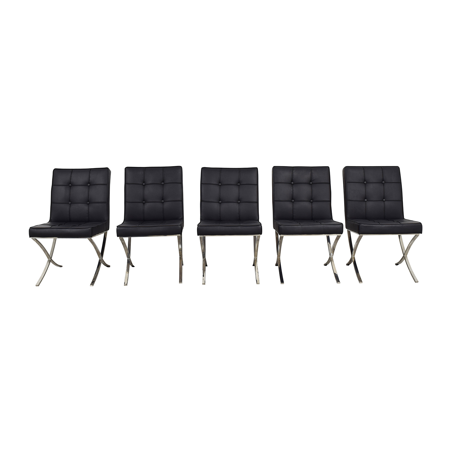 West Elm West Elm Black Tufted Leather Chairs discount