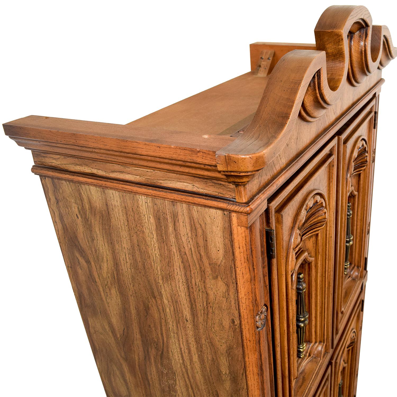 Seaman's Seaman's Carved Wood Armoire Brown