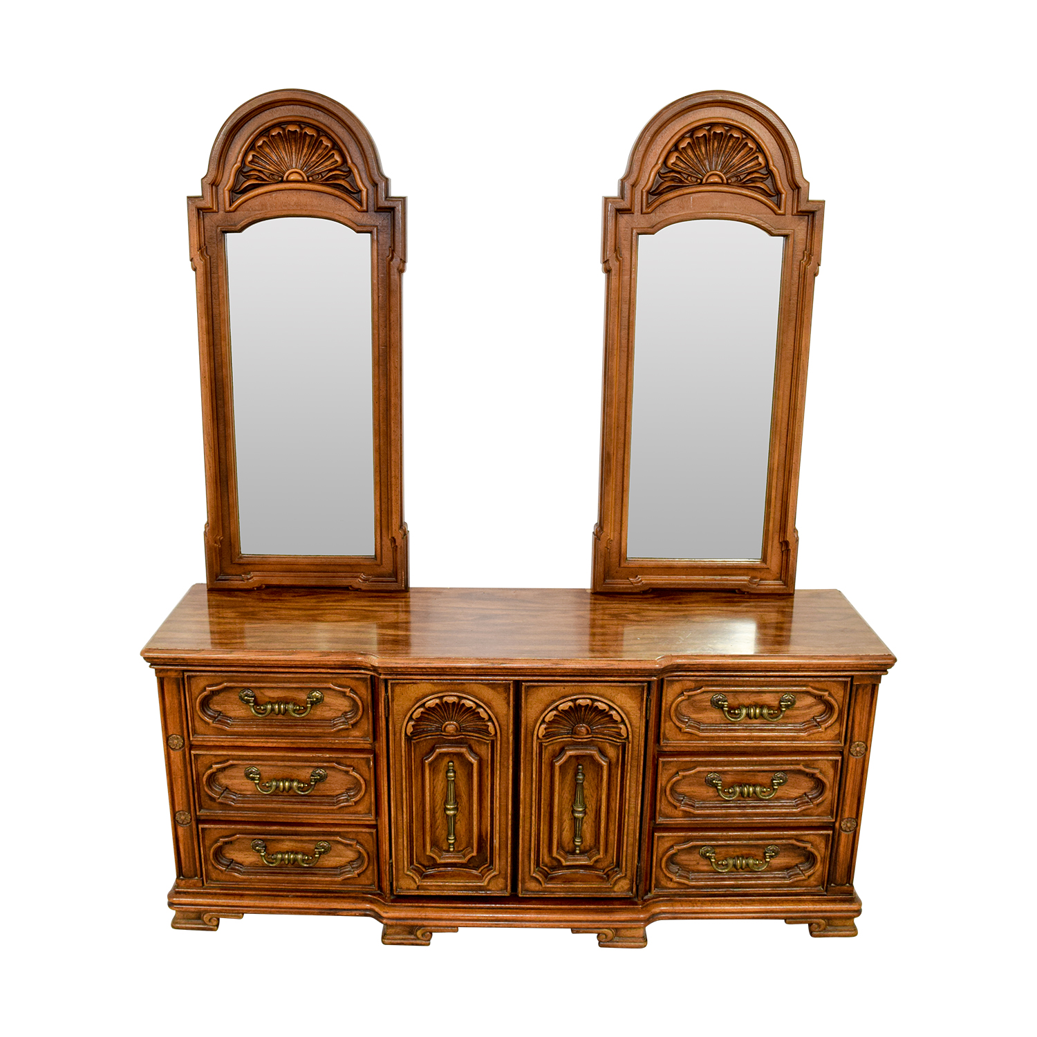 Seamans Seaman's Two Mirror Wood Dresser / Storage