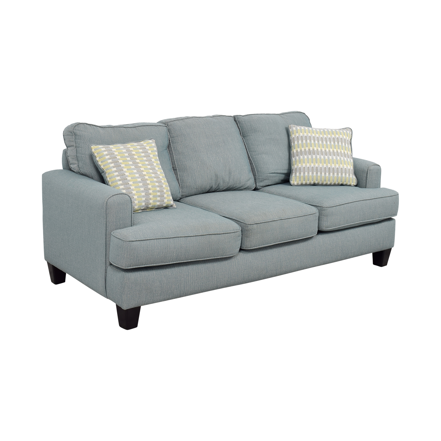 Raymour and Flanigan Willoughby Blue Three Seater Sofa Raymour and Flanigan