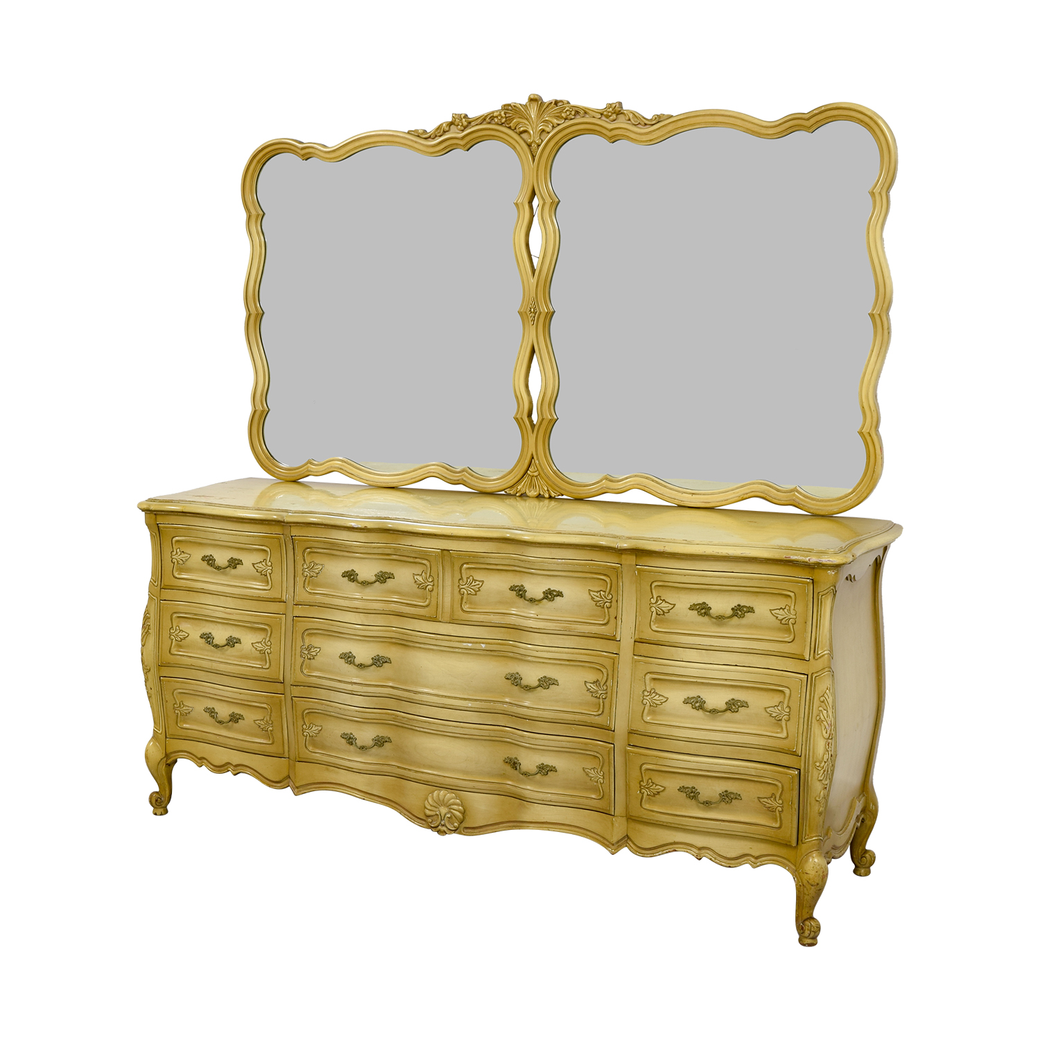 Carlton House Dovetailed Ten-Drawer Dresser with Double Mirror / Storage