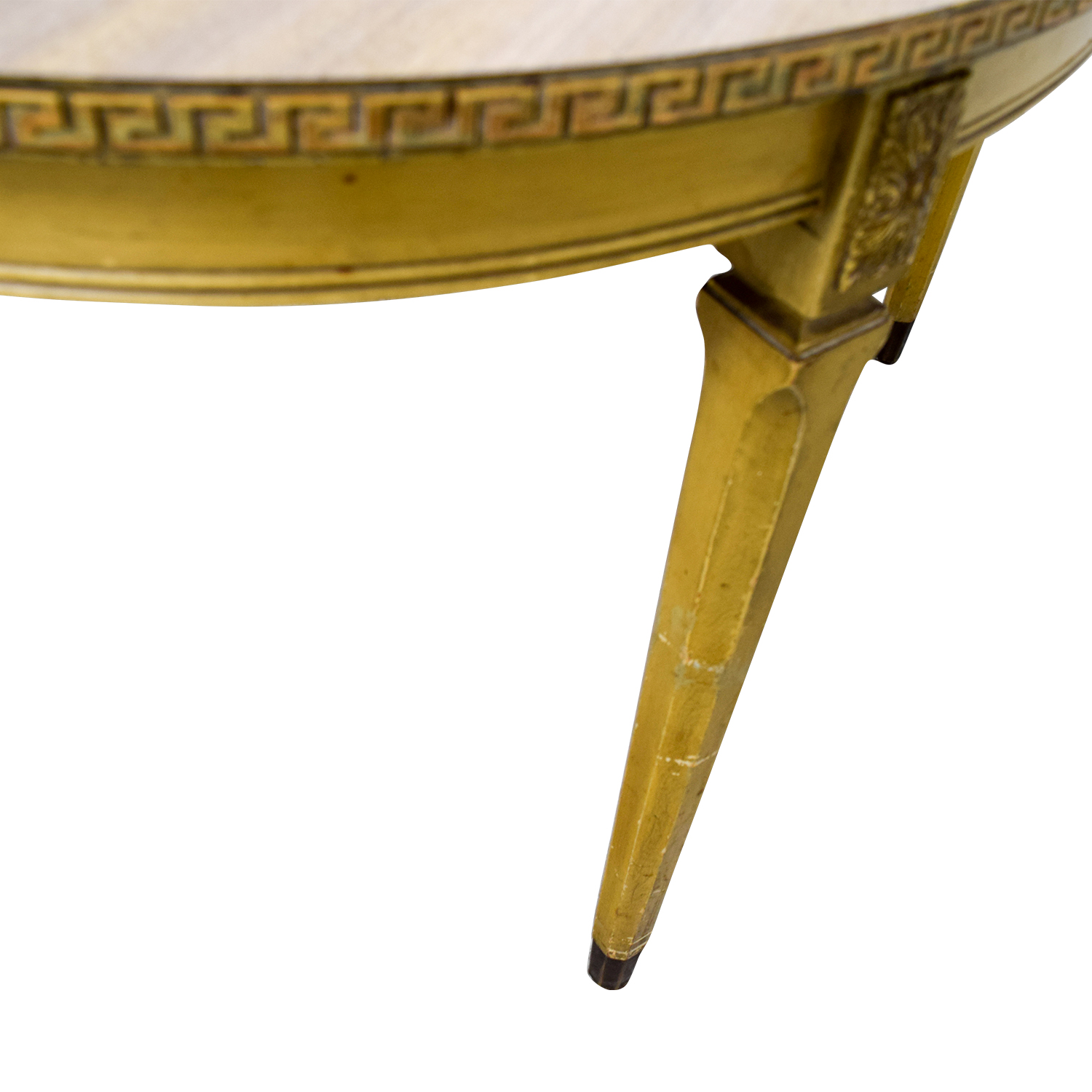Vintage Greek Key Dining Table with Two Leaves