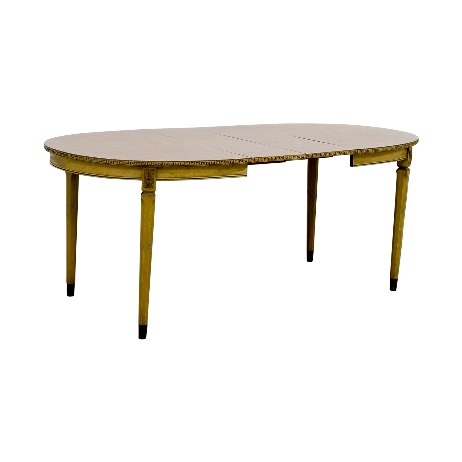 Vintage Greek Key Dining Table with Two Leaves / Dinner Tables