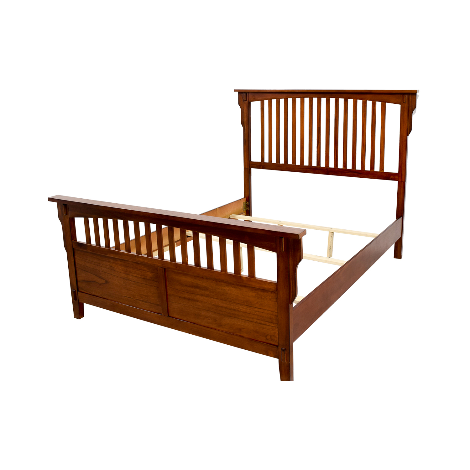 86 off caged wooden queen bed frame beds for Used wooden bed frames