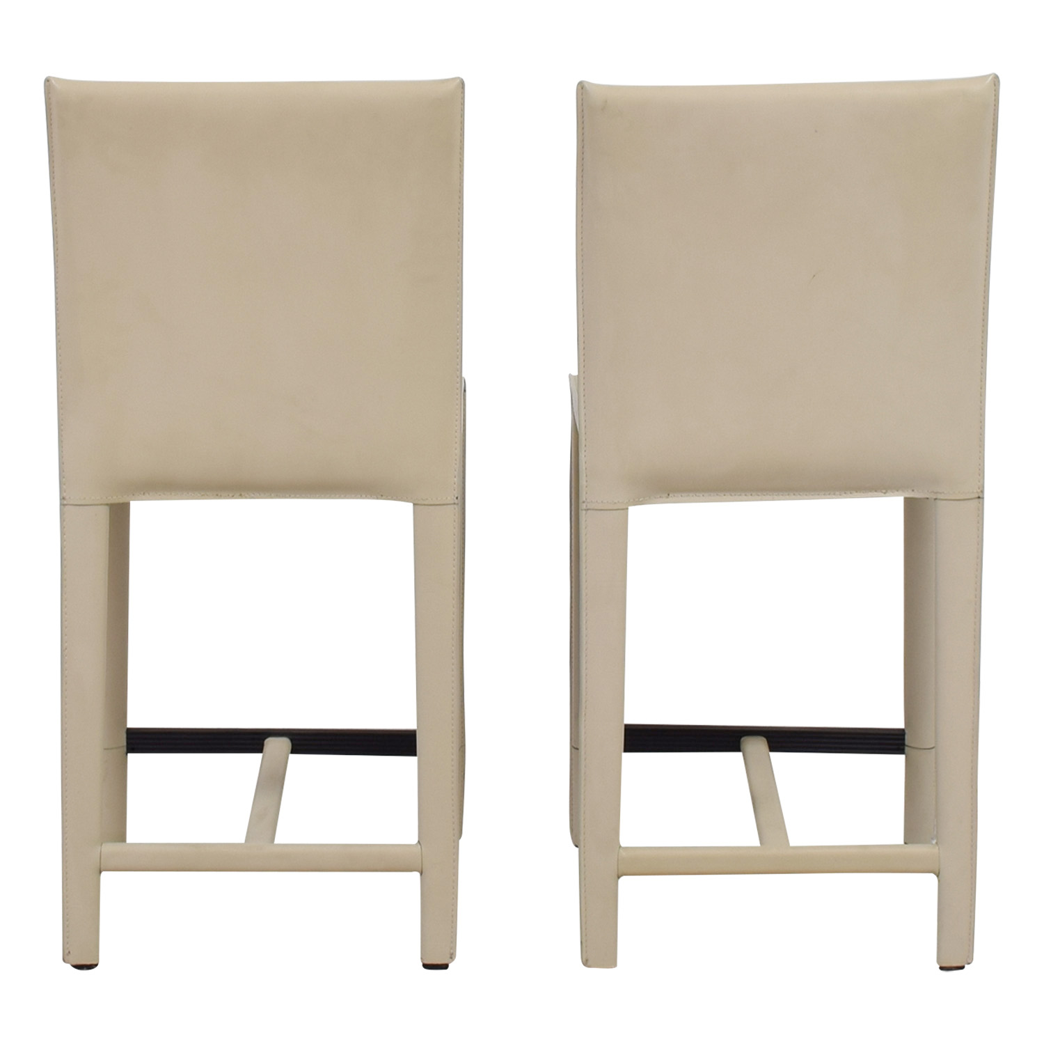 Crate & Barrel Crate & Barrel Folio Cream Leather Counter Stools used