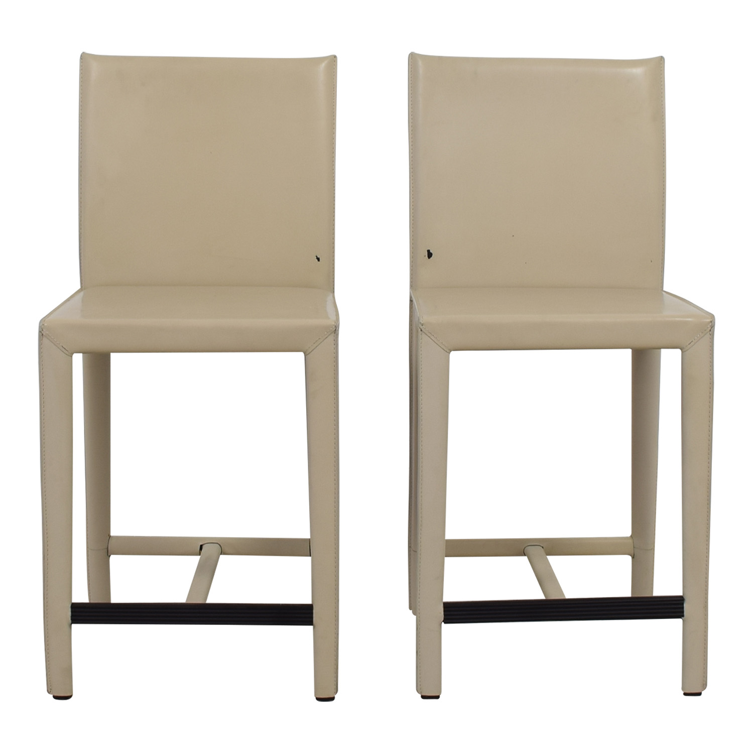 Crate & Barrel Crate & Barrel Folio Cream Leather Counter Stools on sale