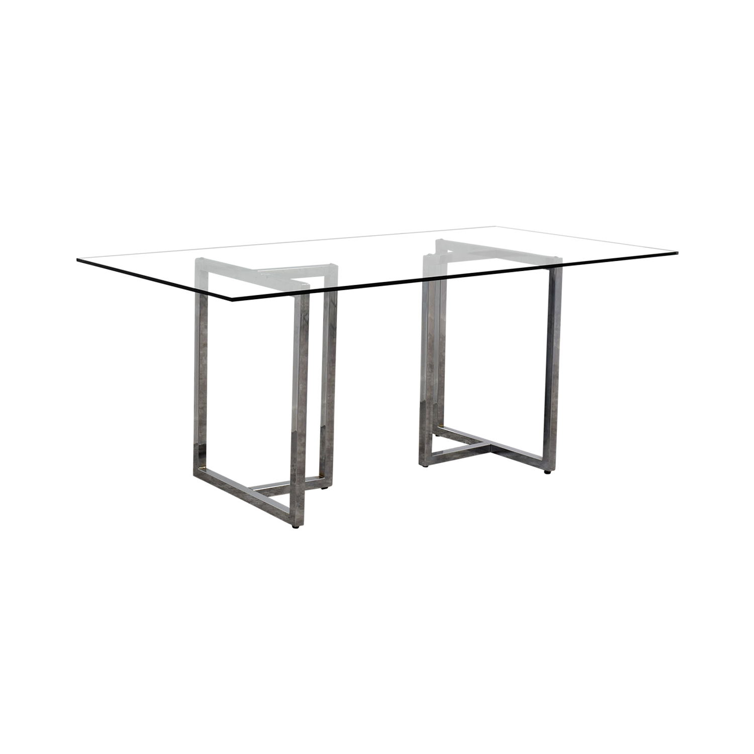 CB2 CB2 Silverado Rectangular Glass and Chrome Dining Table for sale