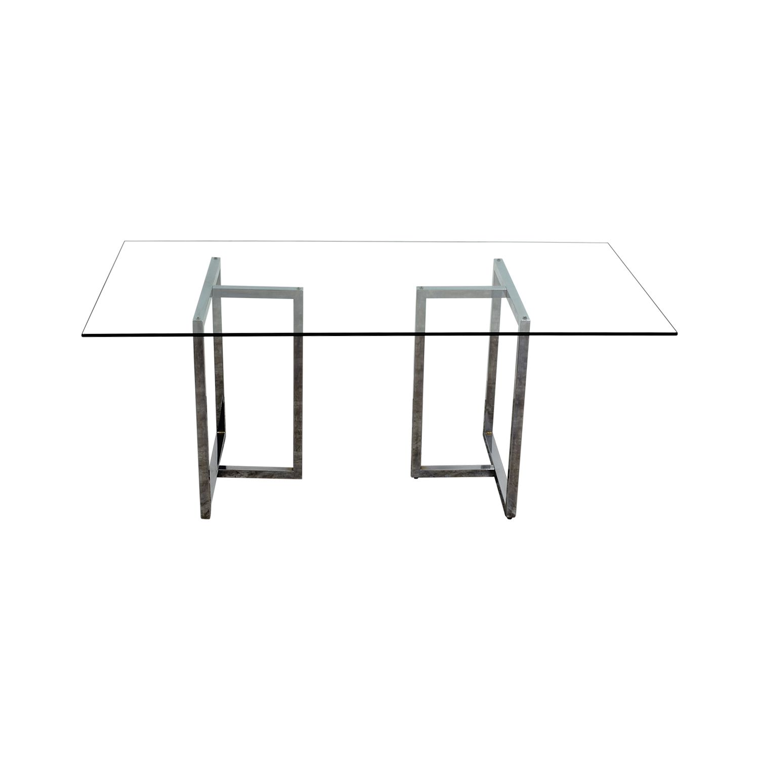 CB2 CB2 Silverado Rectangular Glass and Chrome Dining Table discount