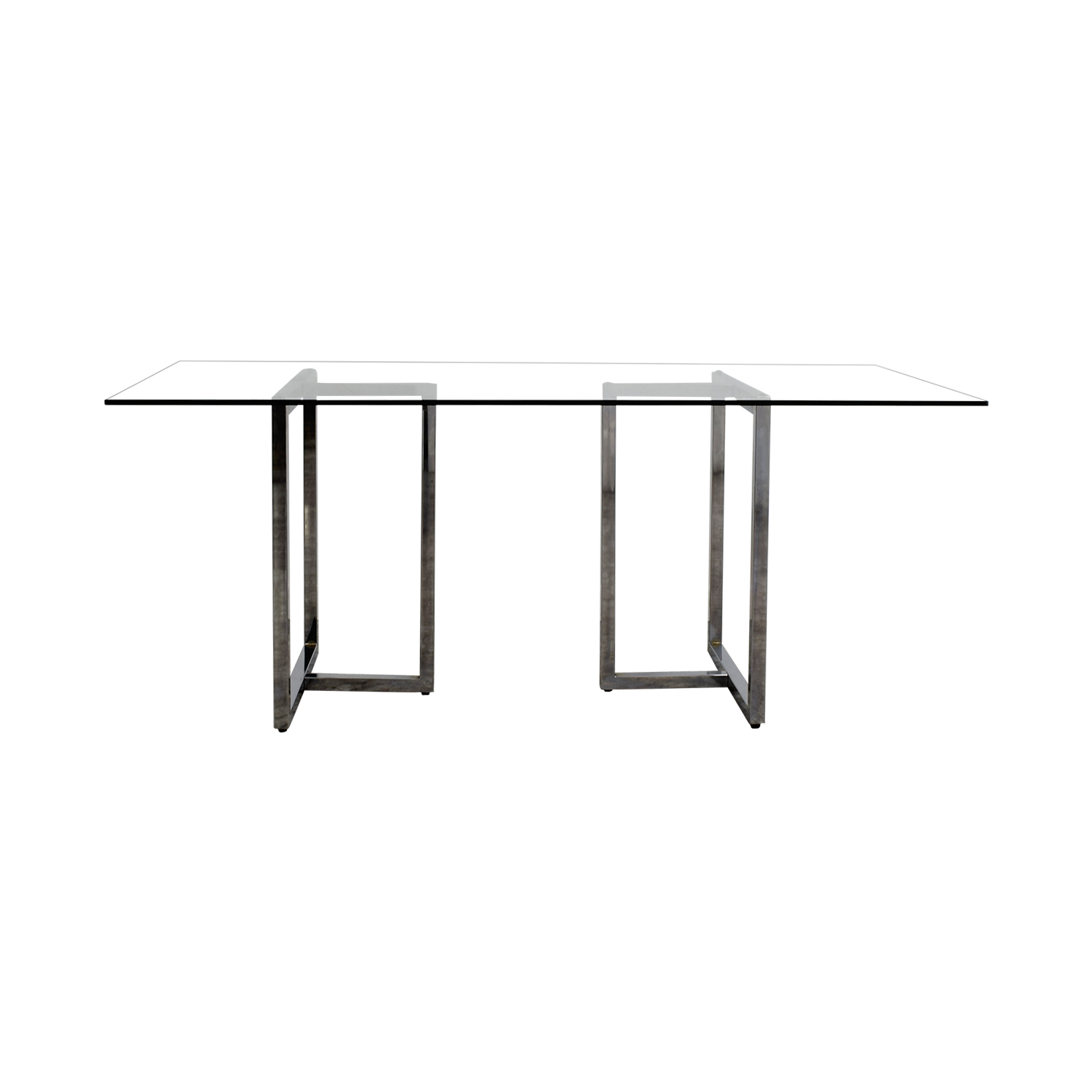 CB2 CB2 Silverado Rectangular Glass and Chrome Dining Table Dinner Tables