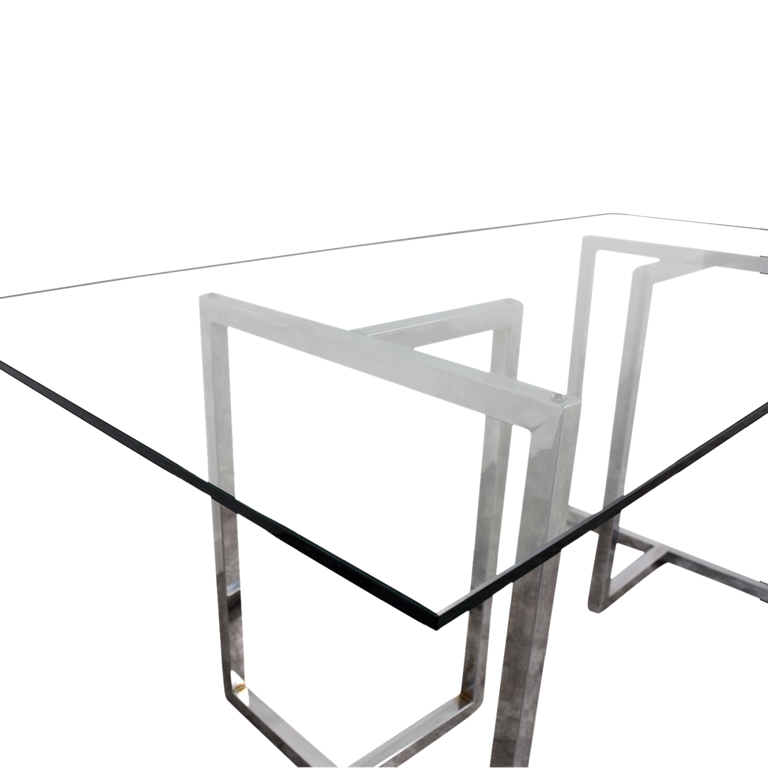 CB2 Silverado Rectangular Glass and Chrome Dining Table / Dinner Tables