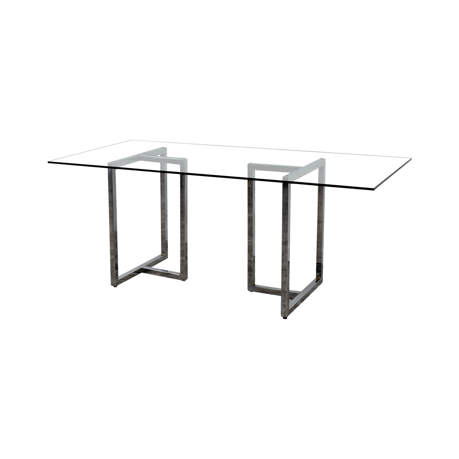buy CB2 CB2 Silverado Rectangular Glass and Chrome Dining Table online