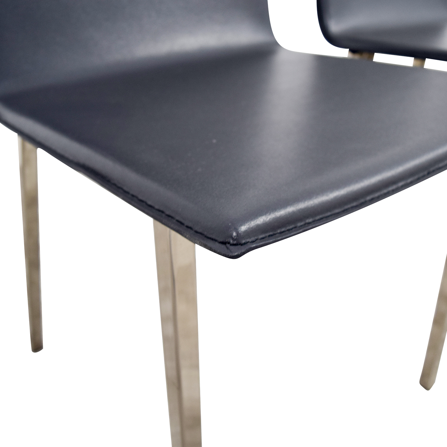 CB2 CB2 Grey Leather Chairs Dining Chairs