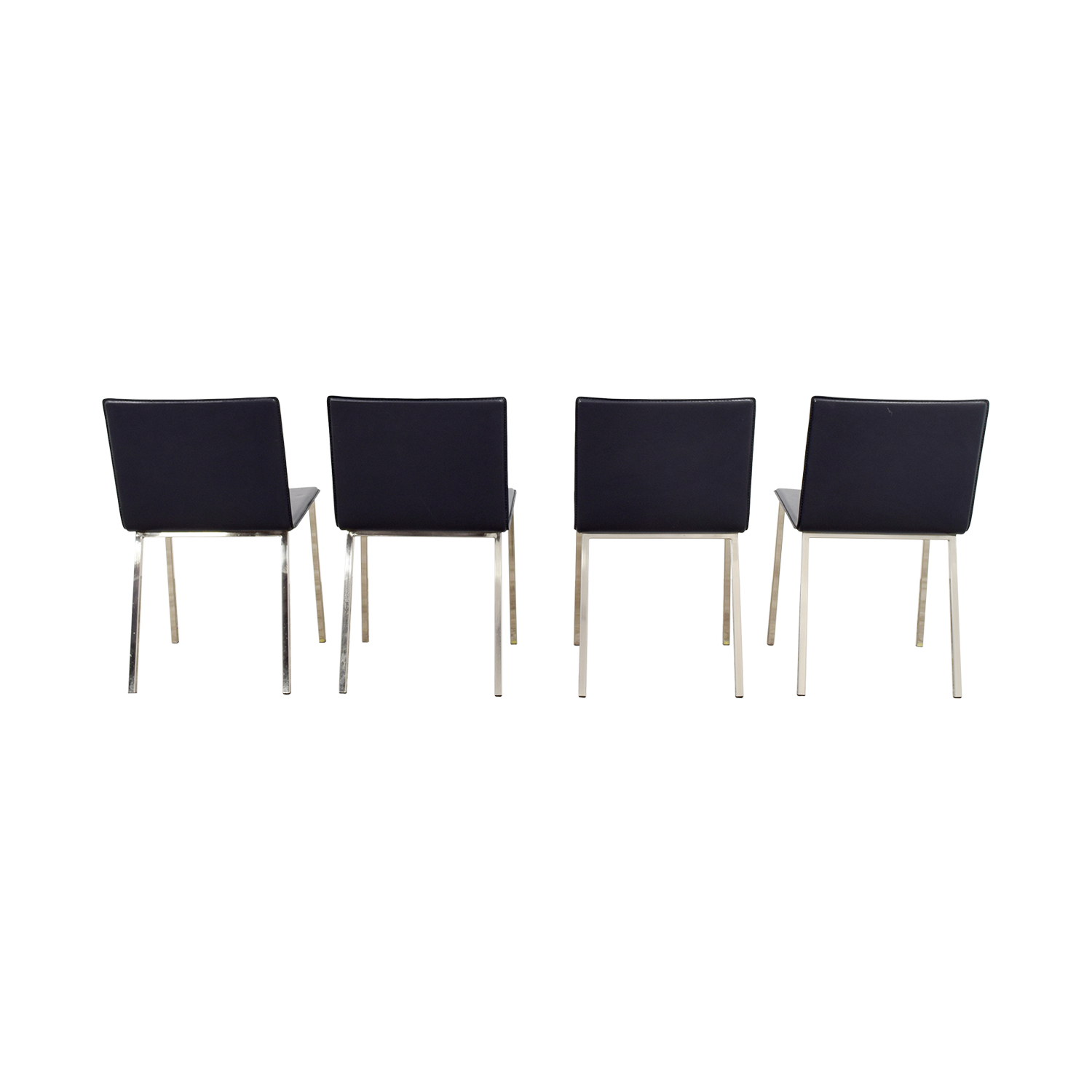 CB2 Grey Leather Chairs / Dining Chairs