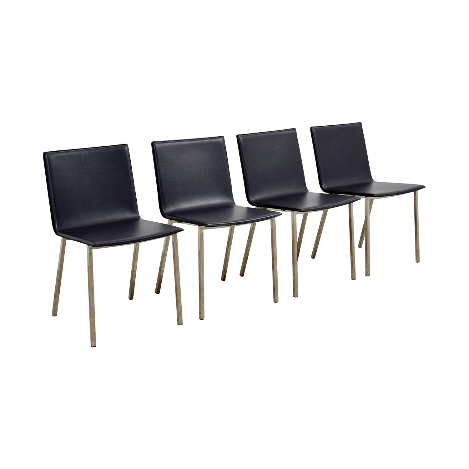 41 Off Cb2 Cb2 Grey Leather Chairs Chairs