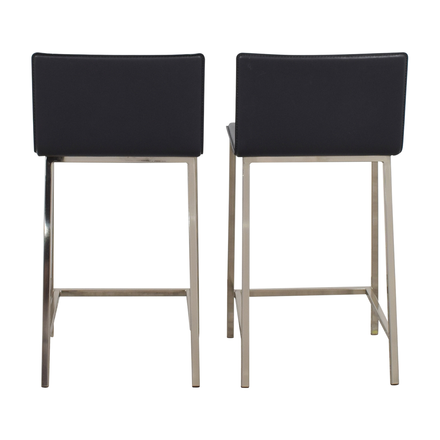CB2 CB2 Grey Leather Bar Stools Chairs
